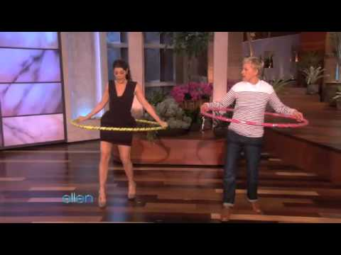 Ellen hula hooping.